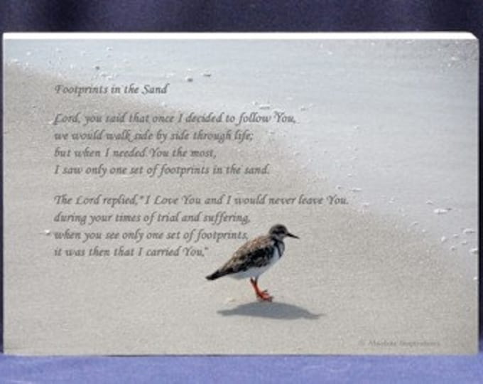 Religious Photo Gift Plaque |Footprints in the Sand Poem - Send As A Gift To Comfort Another Going Through Difficult Times