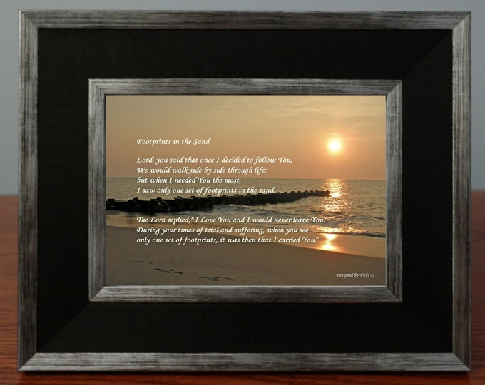 Footprints in the Sand Poem Framed Photo Gift- Sunrise Photograph - Religious Gift Idea