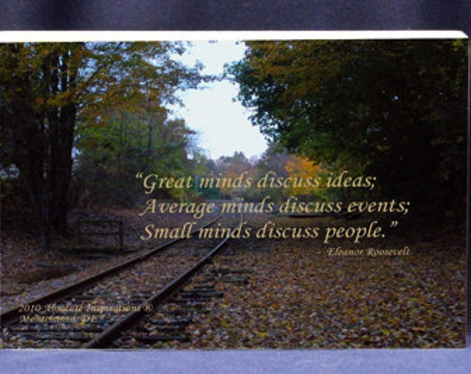 Inspirational Gift Plaque |Great Minds Discuss Ideas Quote by E. Roosevelt - Office or Home Inspiration and Decor