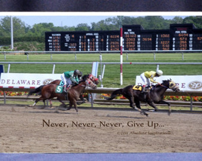 Never Never Never Give Up Motivational Gift Plaque Horse Photograph With Finish Line Horse Race