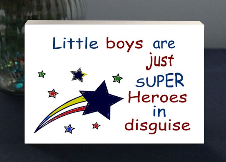 Gift For Mom Of A Young Boy Fun Gift Plaque  Little Boys Are image 0
