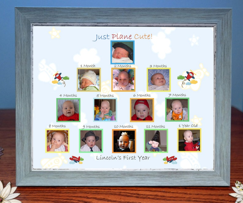 Customized Babys First Year Photo Gift & Frame Just Plane image 0