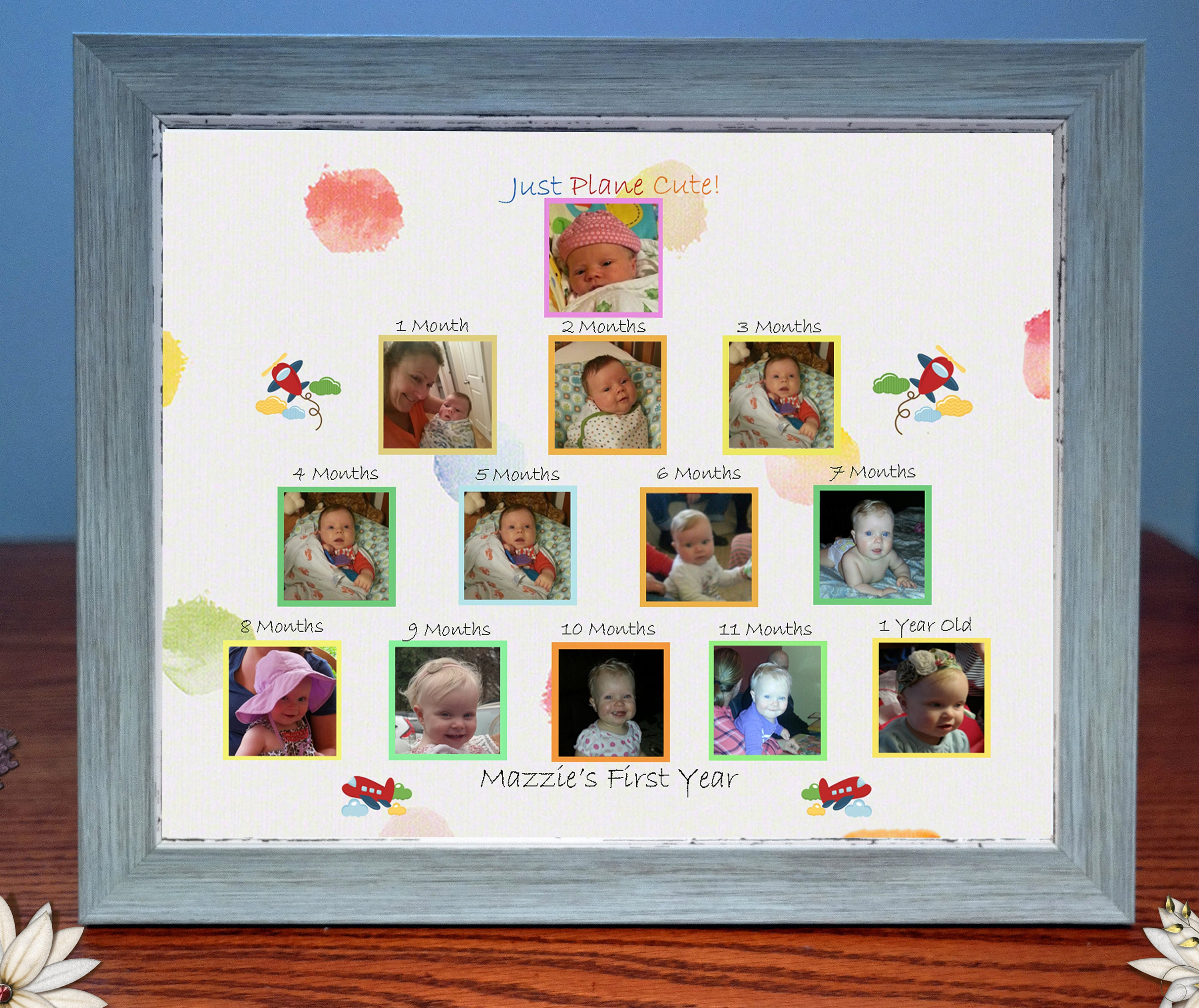 Customized Babys First Year Photo Gift & Frame Just Plane Cute ...