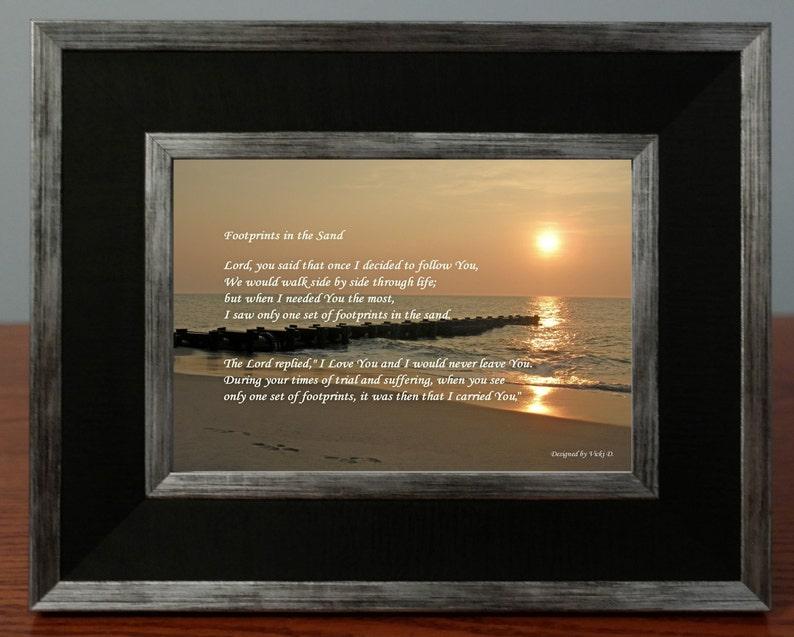 Footprints in the Sand Poem Framed Photo Gift Sunrise image 0
