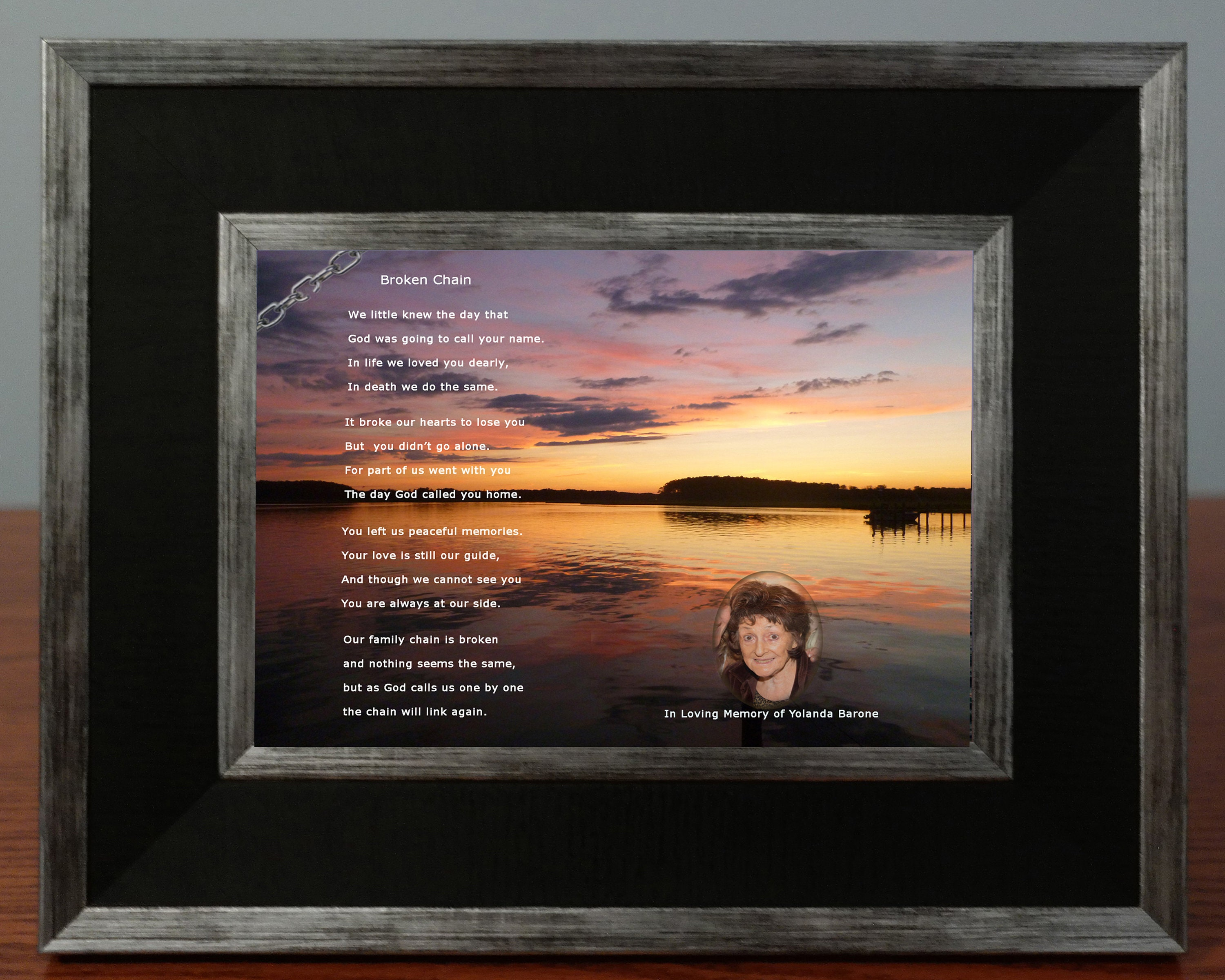 Customized Broken Chain Sympathy Poem With Photo Of Loved One