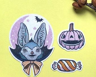 Batty Bat - Handmade stickers set with holographic vinyl