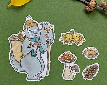 The Hoarding Squirrel - Handmade stickers set with holographic vinyl