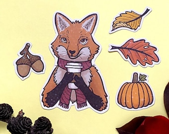 Fox in Autumn - Handmade stickers set with holographic vinyl