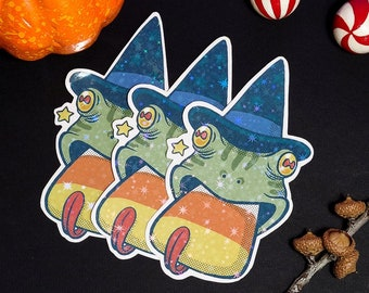 Witchy Frog - Handmade sticker with Holographic Vinyl