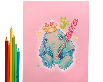 Elephant and lollipop by Grelin Machin - original drawing on paper