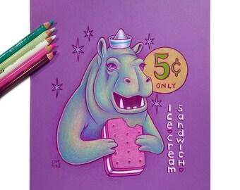 Hippopotamus  by Grelin Machin - original drawing on paper