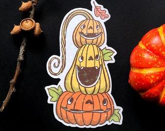 Pumpkin Stack - Handmade sticker with Holographic Vinyl