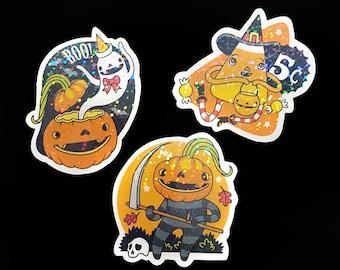 Halloween Stickers Set of 3 - Handmade Holographic Vinyl