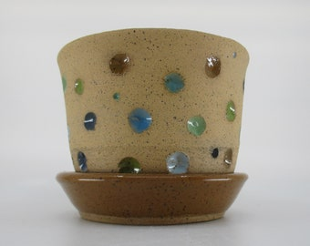 Handmade Ceramic Planter with green and brown spots Flower Pot Spots Spotted Planter with saucer Ready to Ship