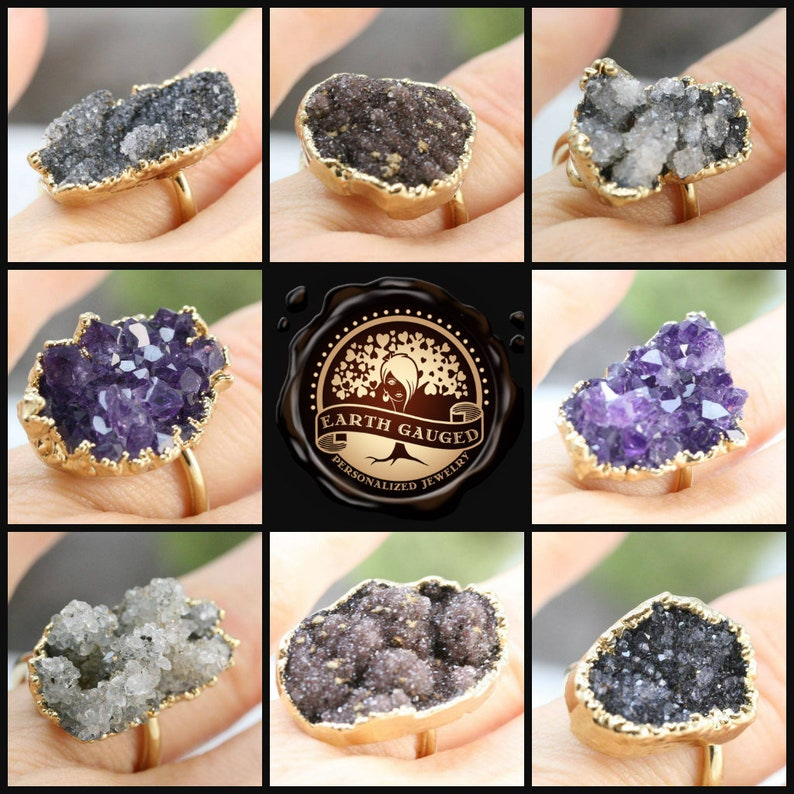SPECIAL price multi colored Clearance SALE no returns 24K Gold Quartz Geode Adjustable Rings