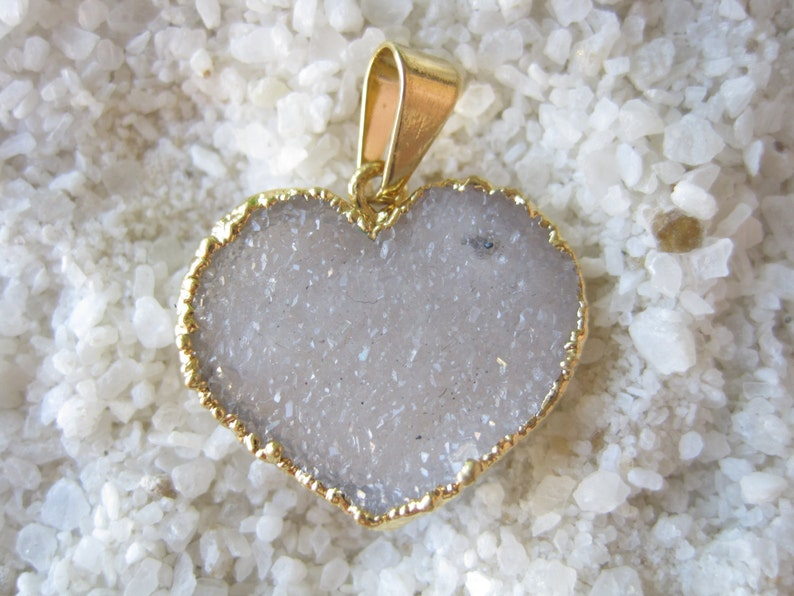 Lt Pink Druzy Geode Heart Pendant symbol tag sign stamp 24K gold special personalized tribute imprint