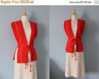 d56cd6168 SALE 1970's vest and skirt/ 70's skirt suit/ Red and Cream Chenille