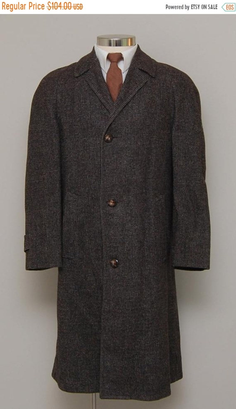 cb0178453f8 SALE 1960s men's brown check wool overcoat/ 60s men's brown overcoat/  Stylecrest