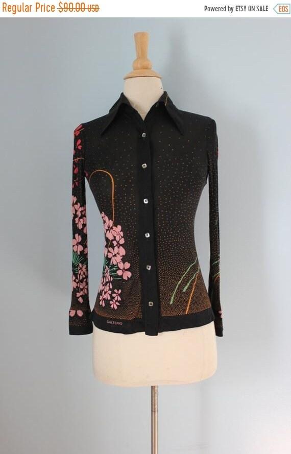 SALE 70s Black Floral Silk Blouse/70s Bias Cut Bla