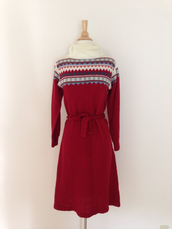 1970s sweater dress / 70s acrylic sweater dress /… - image 1