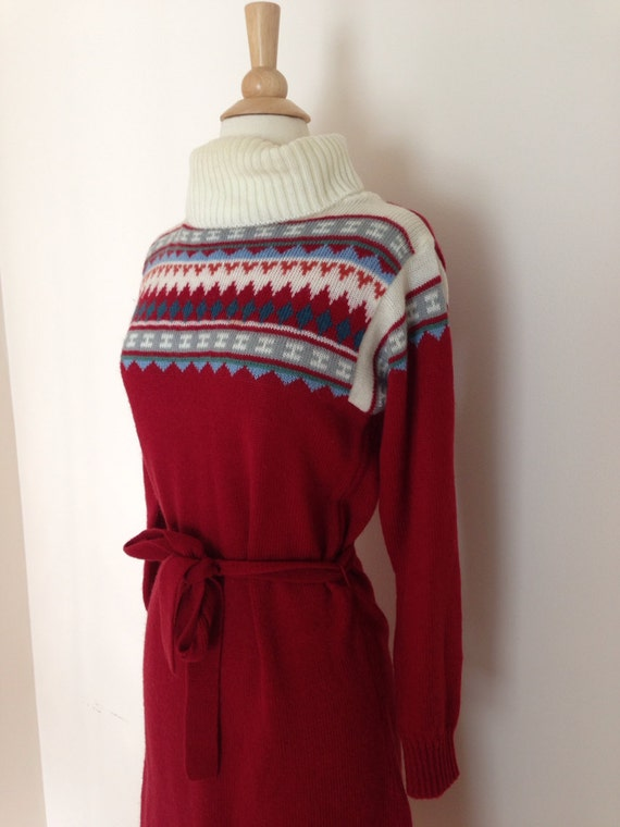1970s sweater dress / 70s acrylic sweater dress /… - image 3