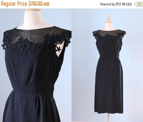 SALE 1950s black cocktail dress / 50s cut out lace