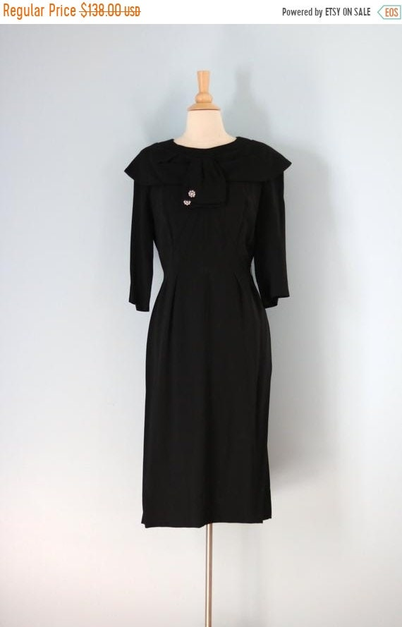SALE 1940s Black Rayon Dress/40s Rhinestone Embeli