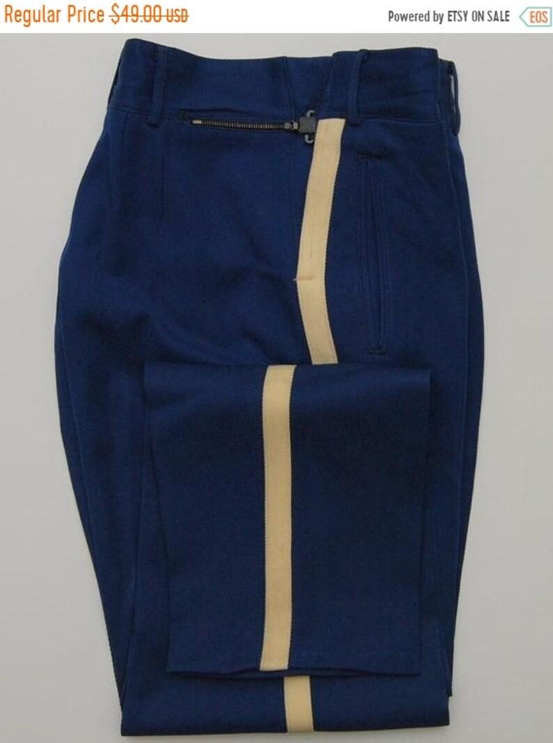 Sale 1940s Men S Blue And Cream Wool Cadet Pants 40s Etsy