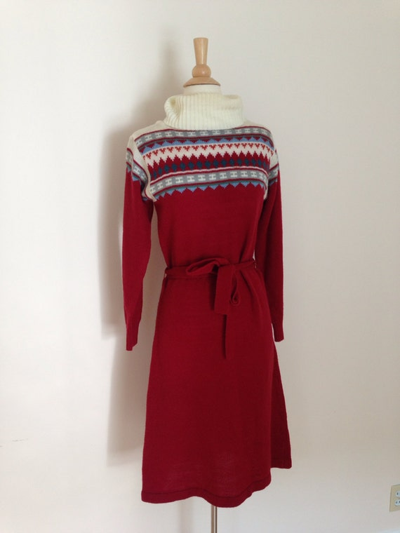 1970s sweater dress / 70s acrylic sweater dress /… - image 2