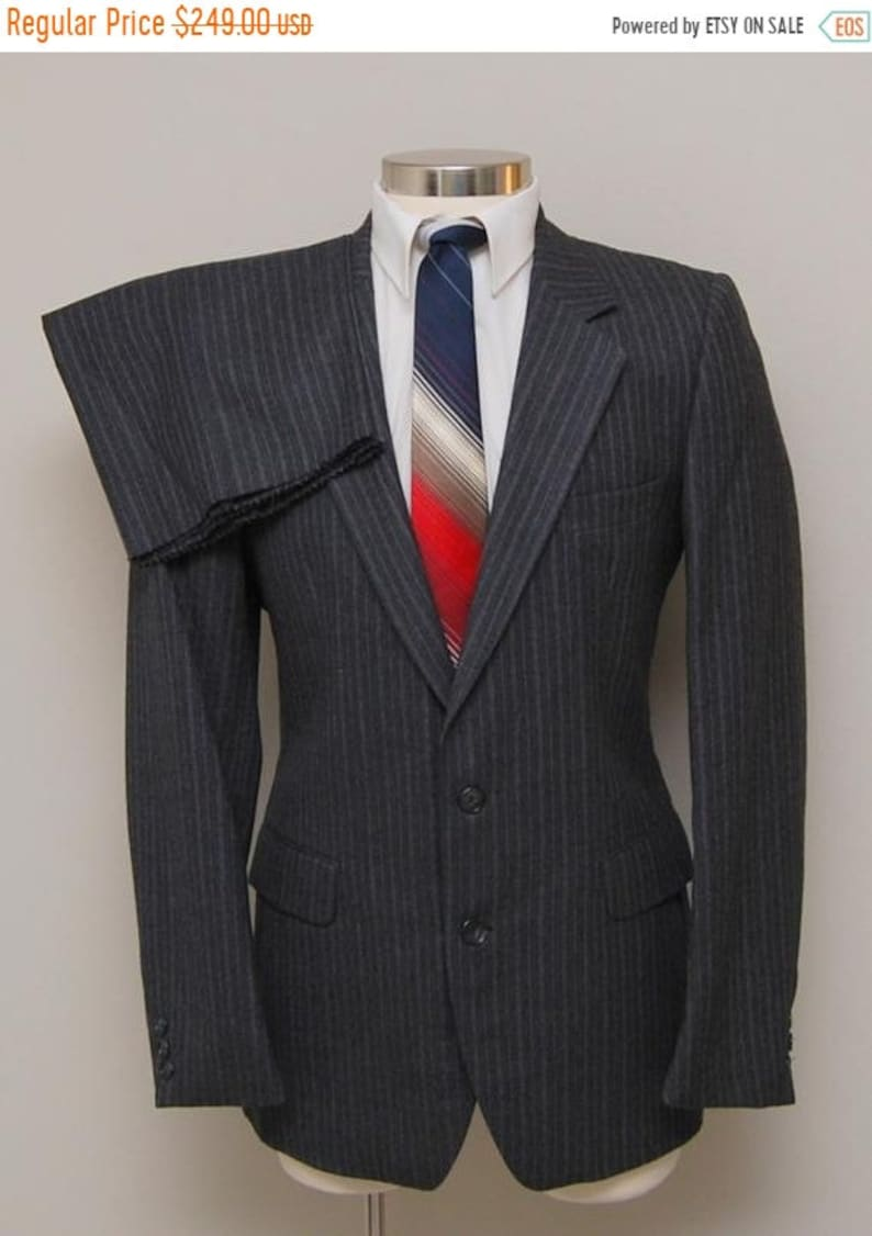 4d3cc6915b5 SALE NOS vintage men's grey stripe flannel wool suit/ Vint | Etsy