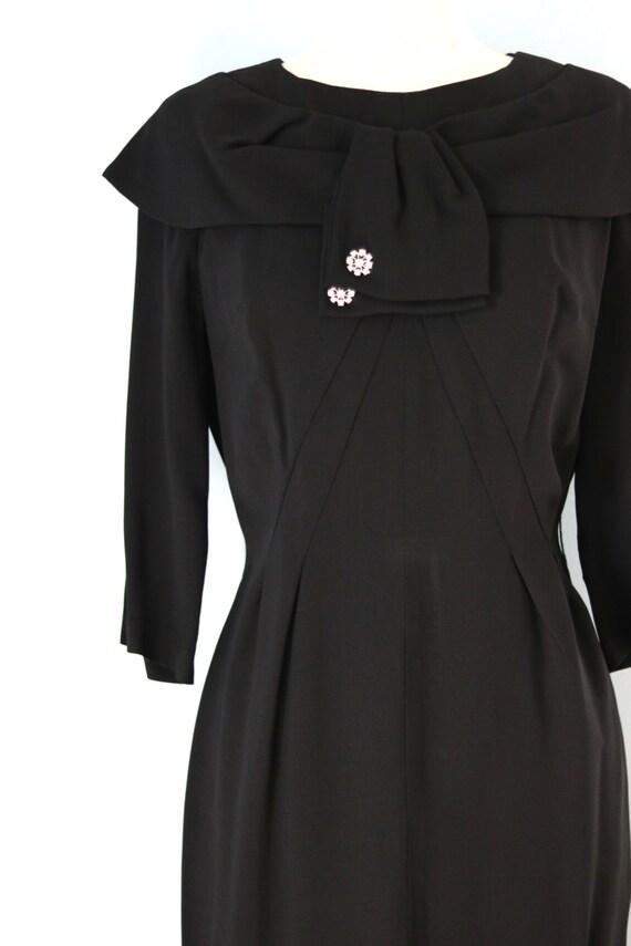 SALE 1940s Black Rayon Dress/40s Rhinestone Embel… - image 2
