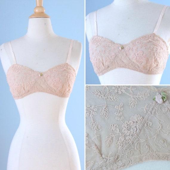 1920s Mesh Lace bra / 20s Pale Pink Embroidered La