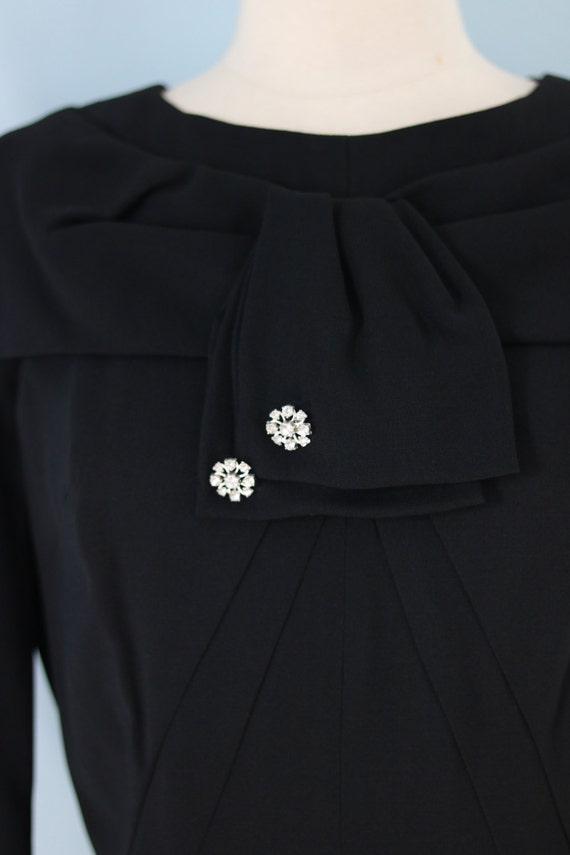 SALE 1940s Black Rayon Dress/40s Rhinestone Embel… - image 3