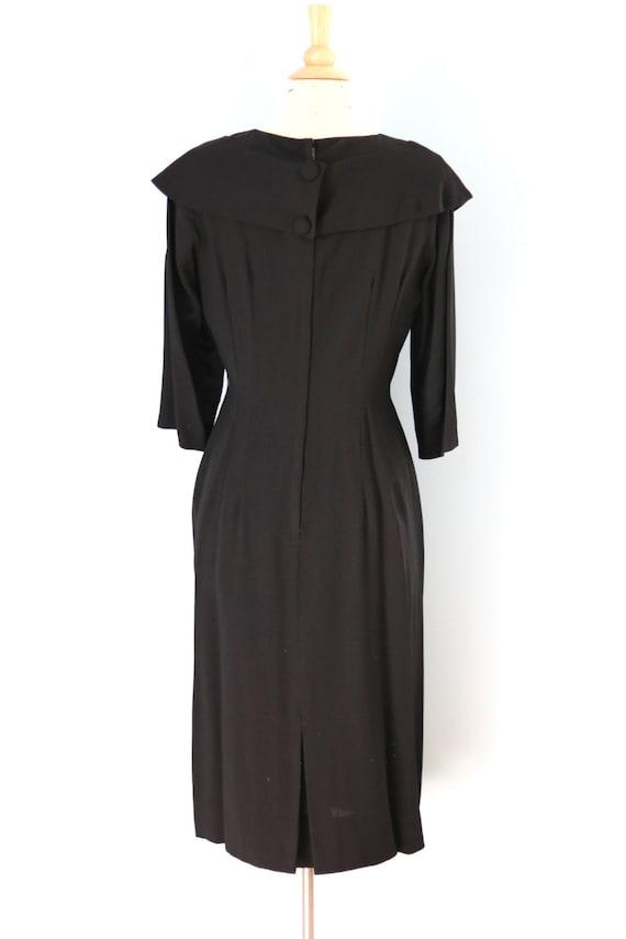 SALE 1940s Black Rayon Dress/40s Rhinestone Embel… - image 5