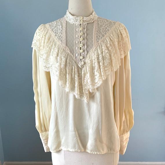 Vintage 1970s Gunne Sax satin blouse/Edwardian inf