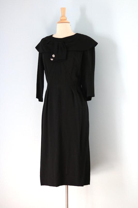 SALE 1940s Black Rayon Dress/40s Rhinestone Embel… - image 4
