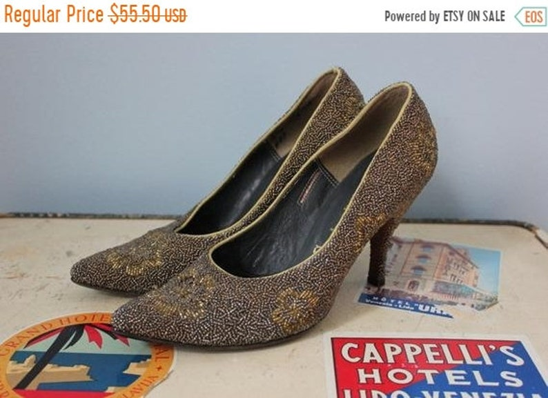 886a7e138e12e SALE 1950s heels / 50s beaded embellished pumps / Cinderella heels