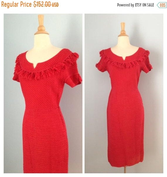 SALE 1940s dress / 40s knit woven ribbon dress / P