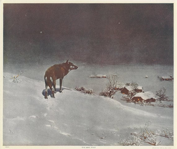 1920 S The Lone Wolf Print By Victor Kowalski Rare Old And Original