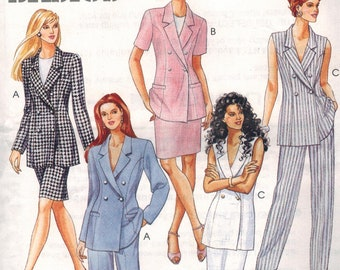 Straight Fitted Skirt Tailored Jacket Peplum Button Jacket V Neckline McCall Sewing Pattern 6899 Pattern Size 14 CUT Complete