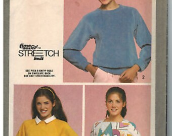 9740 Vintage Simplicity Sewing Pattern Misses Pullover Top Time Saver Stretch