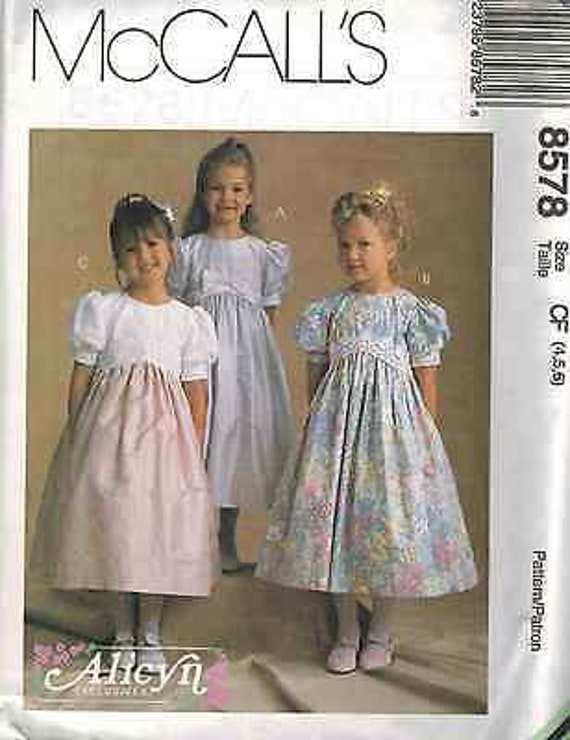 8578 UNCUT McCalls SEWING Pattern Alicyn Exclusive Little Girls Dress Party OOP