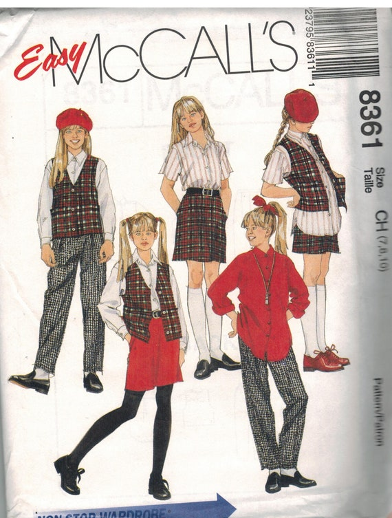 8766 UNCUT Vintage McCalls SEWING Pattern Misses Boxy Vest Pull on Pants OOP SEW