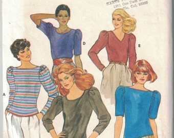 4109 Butterick Misses Sewing Pattern UNCUT Fitted Top Neckline Variations Large
