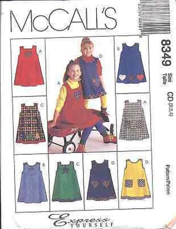 7783 UNCUT Vintage McCalls SEWING Pattern Girls A Line Jumper 2-6 FF OOP NEW