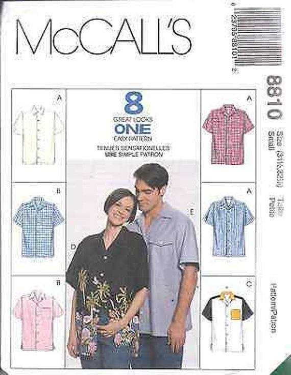 7834 UNCUT Vintage McCalls SEWING Pattern Mens Oversized Shirt 8 Looks OOP EASY
