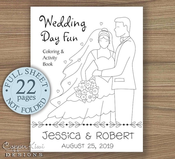 Wedding Coloring Book - Kids Wedding Favors - Wedding Activity Book -  Personalized & Printable Download PDF - Full Sheet Size - Bride Groom