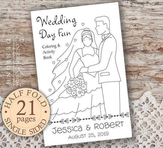 Wedding Coloring Book Kids Wedding Favors Personalized Printable Download Pdf Wedding Activity Book Half Fold Book Single Sided