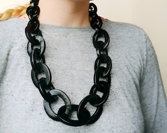 Black Chain Necklace, Oversized Chunky Statement Necklace, Iris Apfel Jewelry