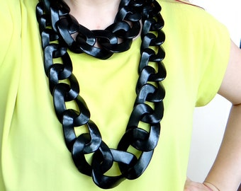 Extra Long Chunky Chain Necklace Statement, Black Necklace, Black Oversized Chain Necklace, Bold Necklace